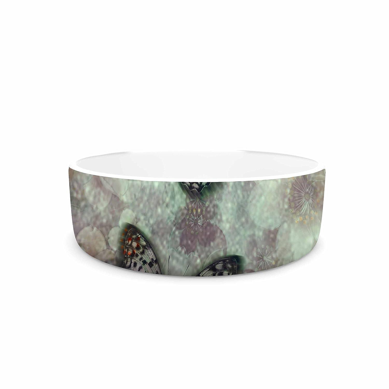 KESS InHouse Shirlei Patricia Muniz World of Butterflies Green Olive Digital Pet Bowl, 7