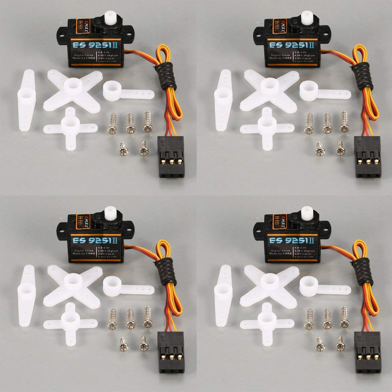 [해외]4PCS EMAX 디지털 플라스틱 기어 서보 ES9251 II 4.8-6.0 V 0.3 kg0.09 0.07 초60도 RC FPV 고정 날개 비행기 / 4PCS Emax Digital Plastic Gear servo es9251 II 4.8-6.0 v 0.3 kg 0.090.07 sec60 degree RC FPV fixed wing airplane
