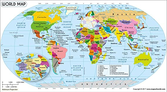 amazoncom world map in robinson projection 36 w x 199 h office products