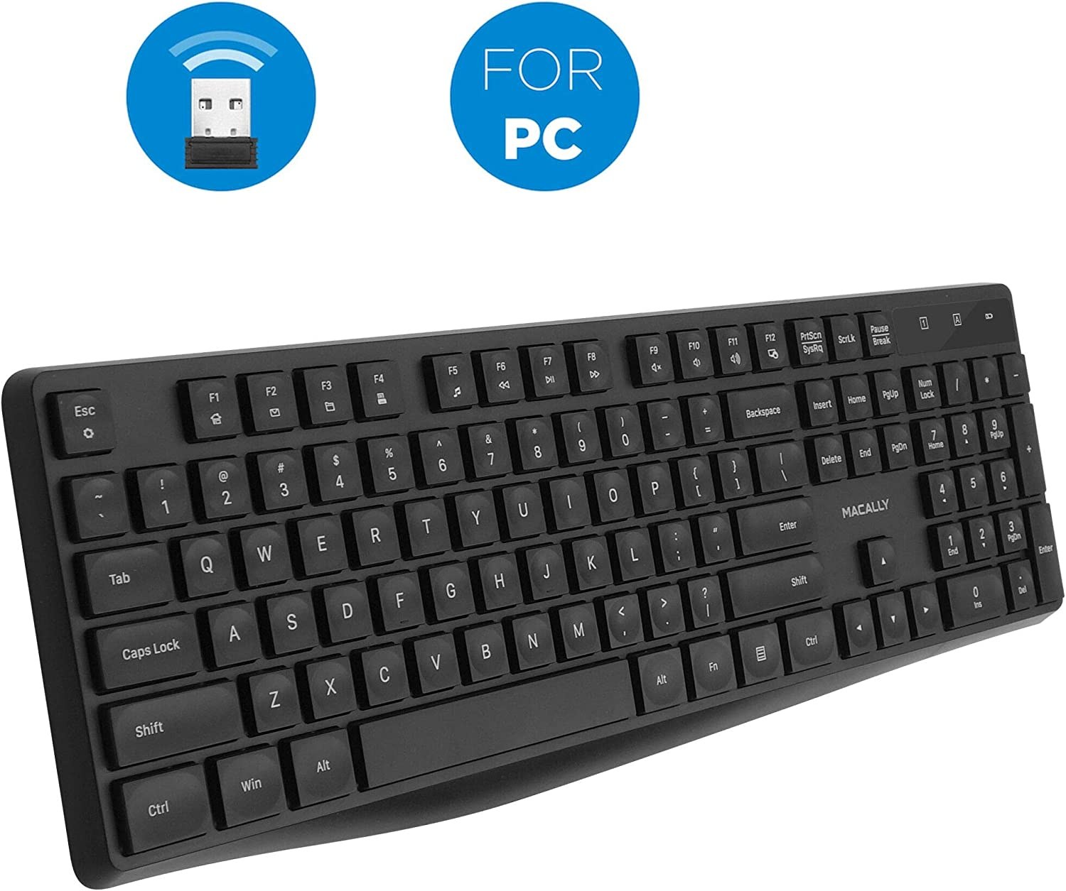 Macally 2.4G USB Wireless Keyboard for Laptop or Computer - Full Size Keyboard with Numeric Keypad & 13 Shortcut Keys - for Windows Devices with USB Port - Simple & Easy to Use PC Keyboard Wireless