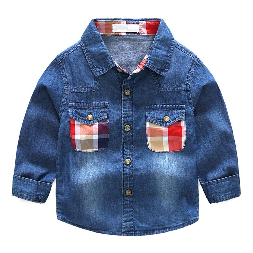 Size : 120 Lyntop Boys Long Sleeve Solid Button-Down Oxford Shirt