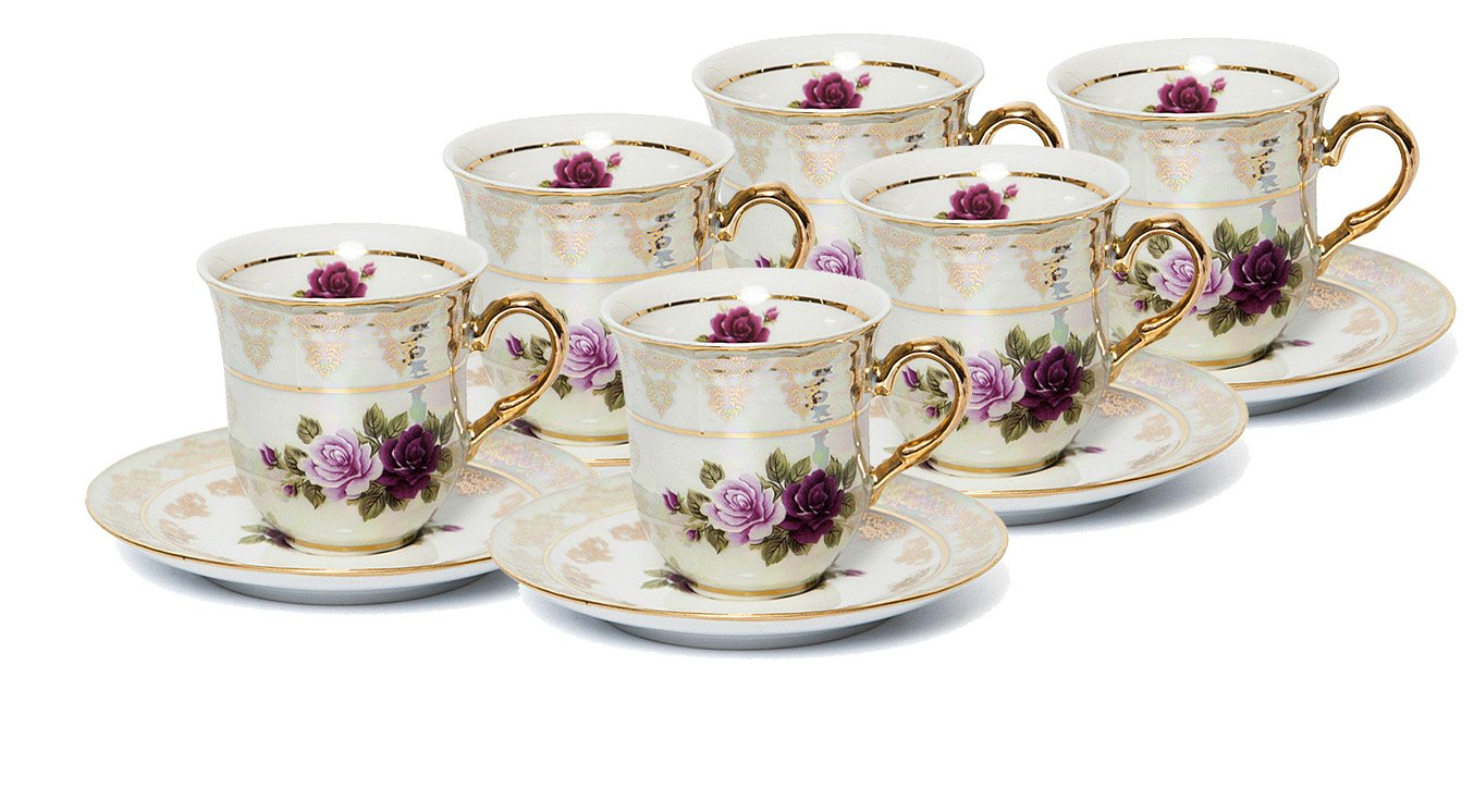 Euro Porcelain 12-Pc. ''Roses'' Tea Cup and Saucer Coffee Set (8 oz.), White Pearlescent Floral Pattern with 24K Gold-Plated Accents, Tea Service for 6, Vintage Czech Tableware