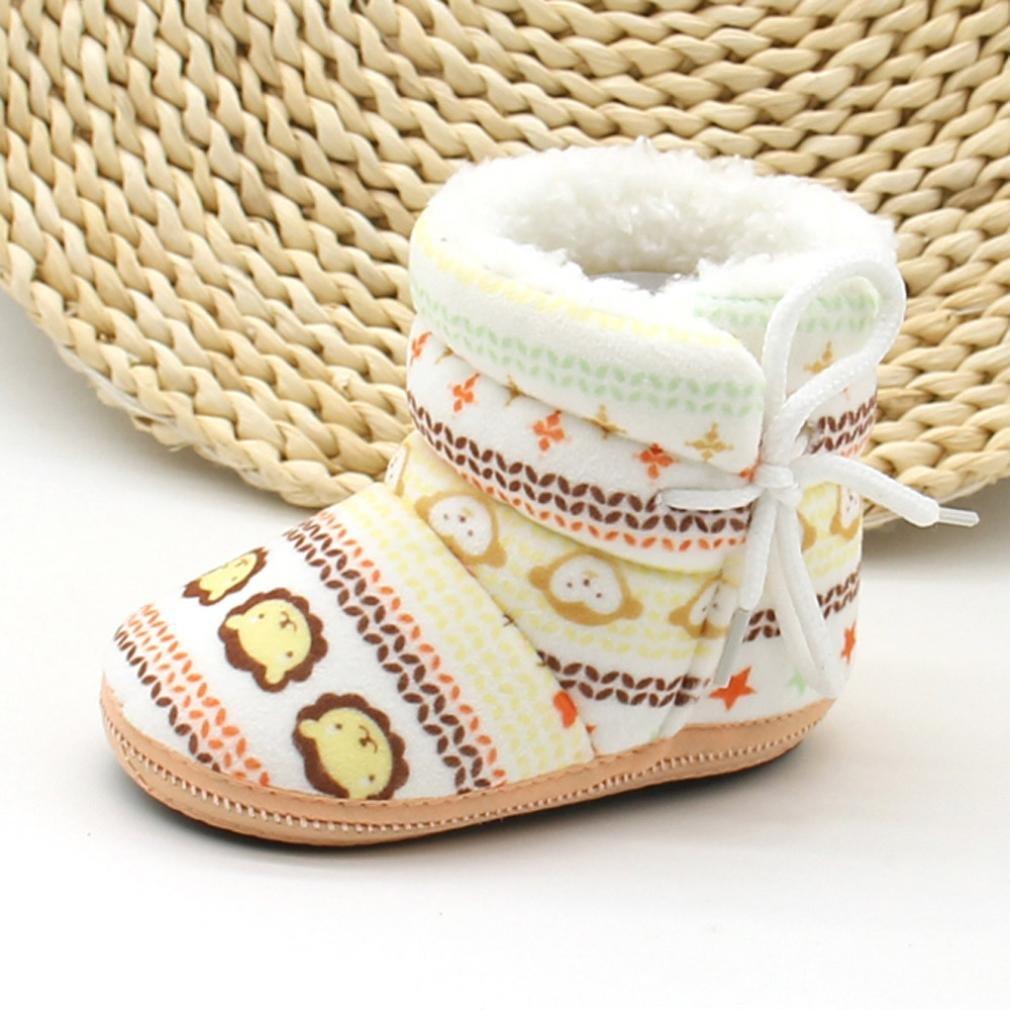 FEITONG Infant Newborn Baby Soft Sole Boots Prewalker Warm Shoes 1-12Months, Khaki Snow Boots