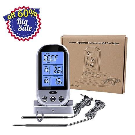 gogogofun inalámbrica barbacoa termómetro pantalla Roasting Termómetro Barbacoa/carne/carne asador horno plata