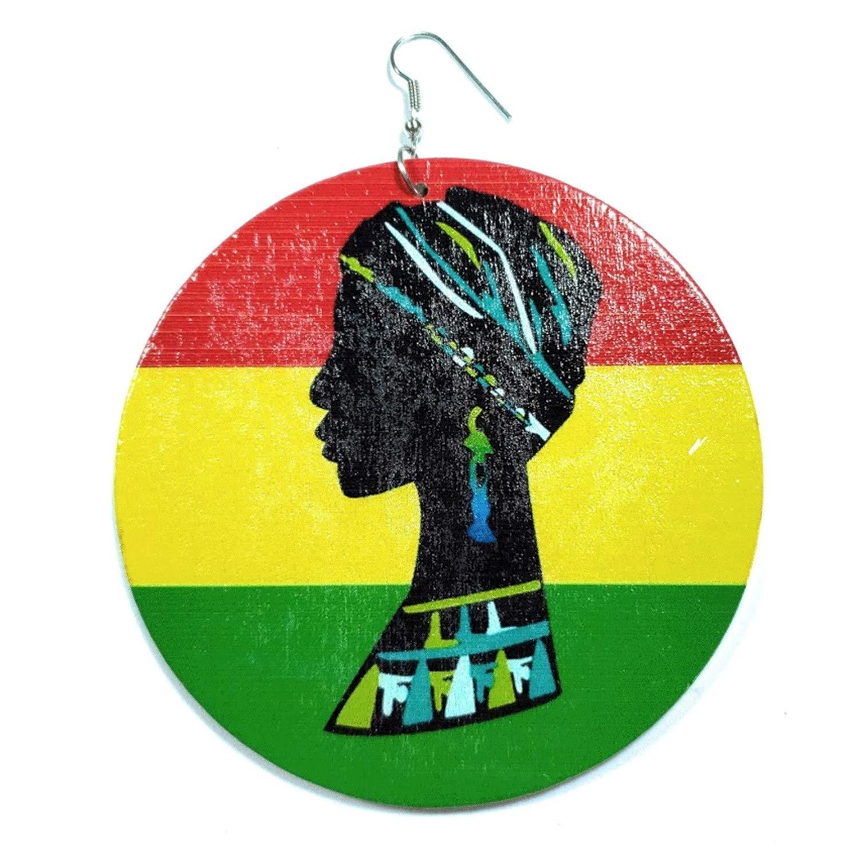 Teris Boutique Rasta Black African Turban Hair Style Portrait Native RYG Round Circle Dangle Drop Fashion Earrings