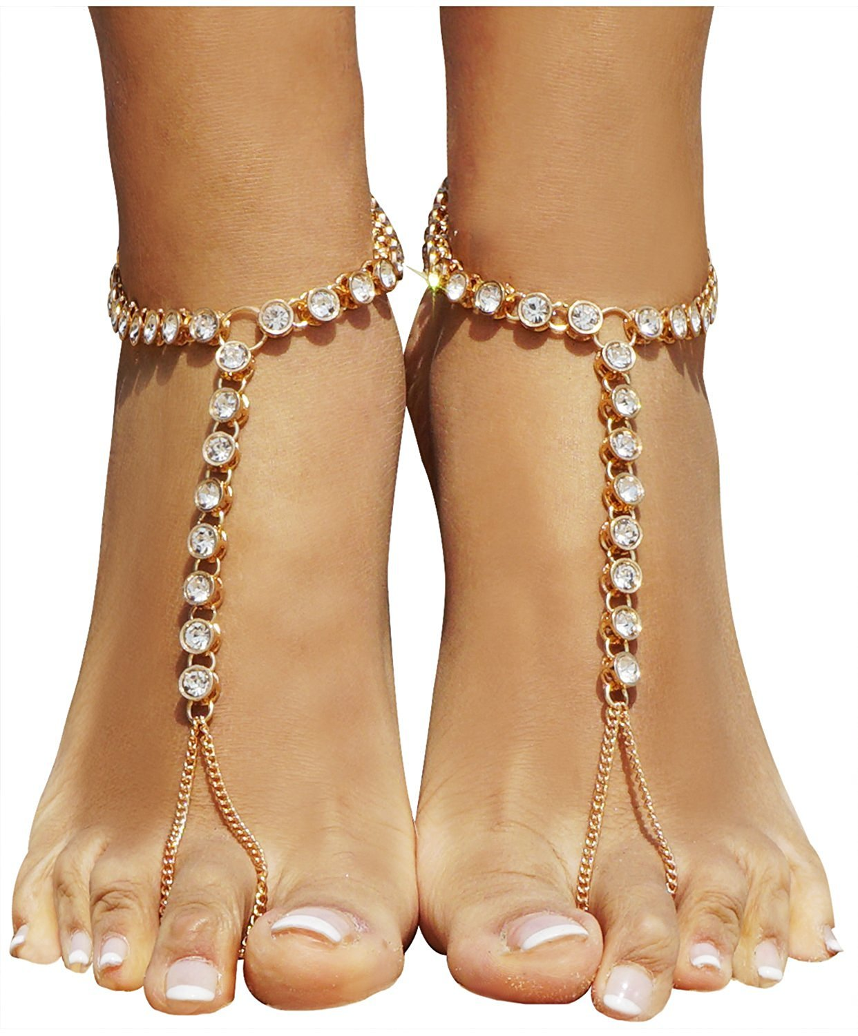 HOPES KINGDOM 2 Pieces Women's Foot Chain Barefoot Sandals Beach Wedding Jewelry Anklet with Rhinestone Toe Ring