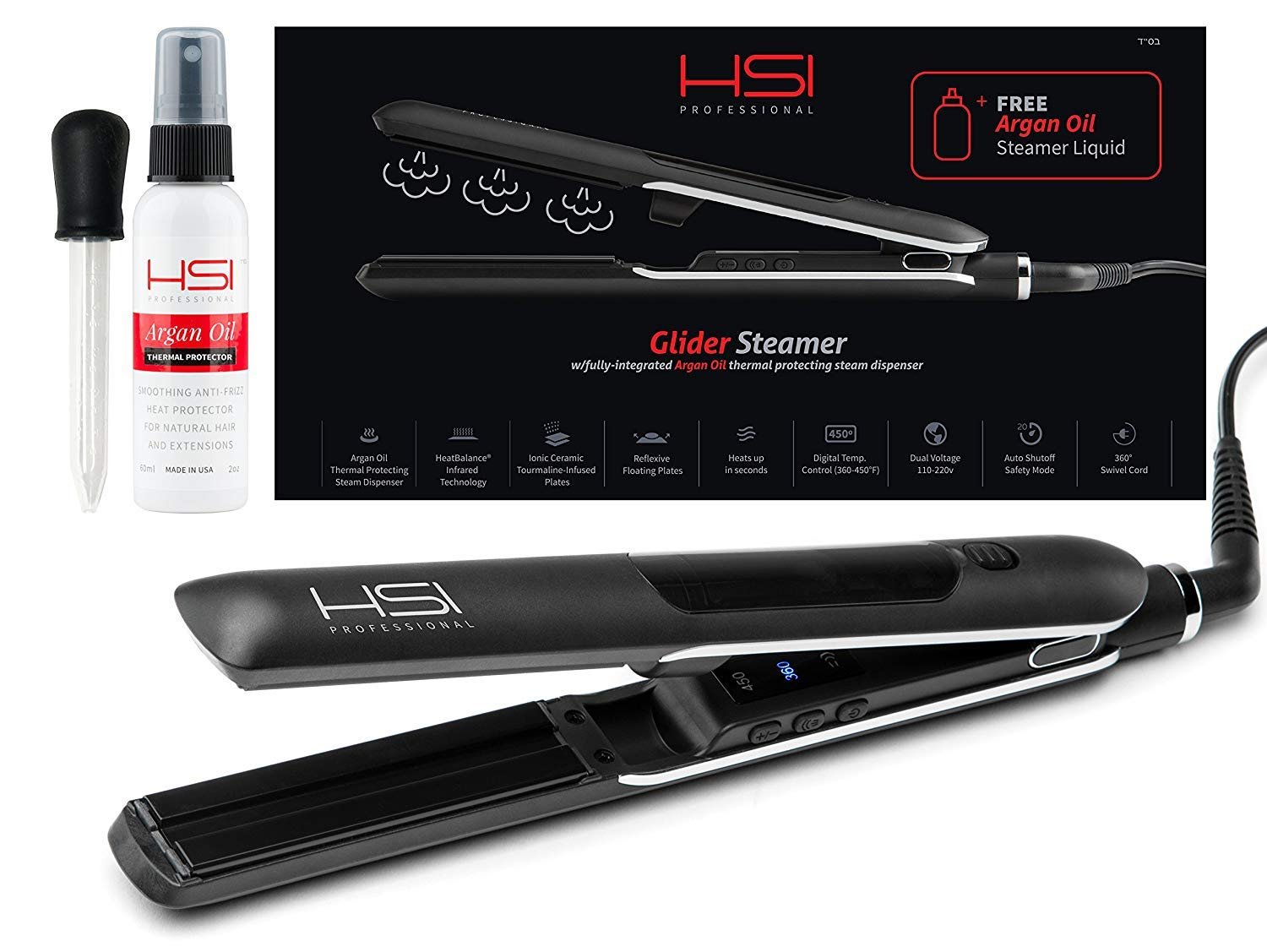 HSI Professional Glider Steamer Ceramic Flat Iron | Dispenses Argan Oil Infused Steam