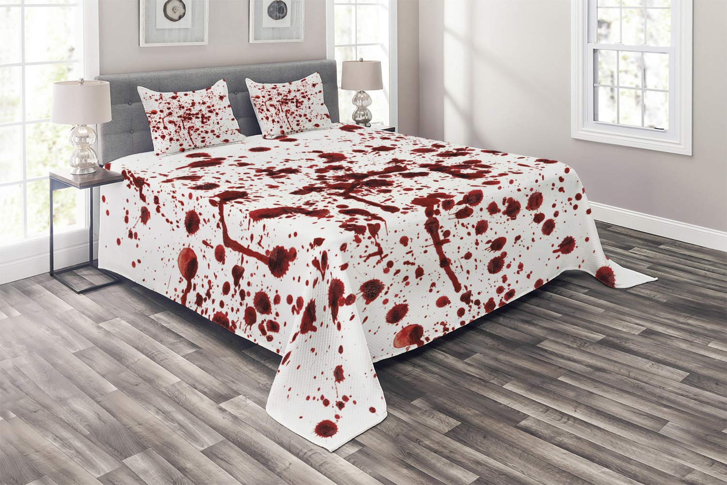 Ambesonne Horror Coverlet, Splashes of Blood Grunge Style Bloodstain Horror Scary Zombie Halloween Themed Print, 3 Piece Decorative Quilted Bedspread Set with 2 Pillow Shams, Queen Size, Red White