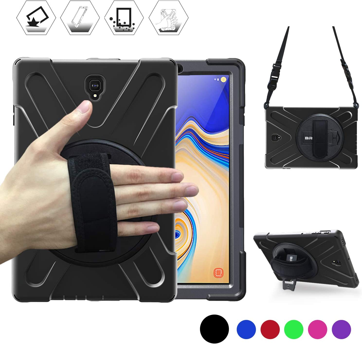 "Galaxy Tab S4 10.5"" Case, BRAECN Heavy Duty Shock-Proof Case with 360 Degree Kickstand/Hand Strap and Carrying Shoulder Strap for Samsung Galaxy Tab S4 10.5 inch 2018 Tablet SM-T830/T835/T837 (Black)"