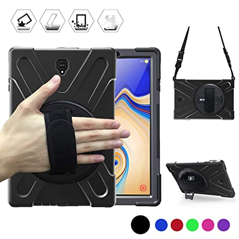 Galaxy Tab S4 10 5 Case, BRAECN [Shoulder strap] [Hand Strap] [Rototating  Kickstand] Heavy Duty Shock-proof Protecitve Case for Samsung Galaxy Tab S4