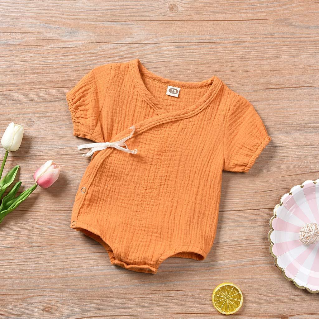 Kleinkind Baby M/ädchen Junge Outfits Einfarbig Strampler Kurzarm Spielanzug Side Snap Baby Toddler Baby Neugeborenes Kinderkleidung
