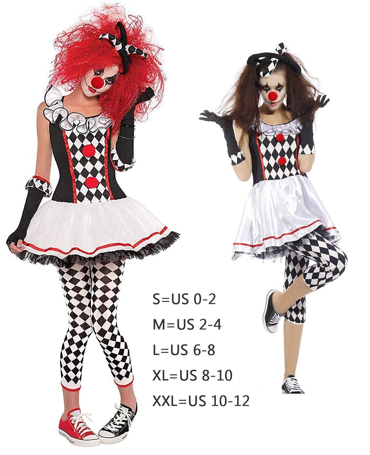 bbf61a0bbc NonEcho Women's Halloween Costume Harlequin Clown Outfit Kit, Clown Wig,  Clown Nose