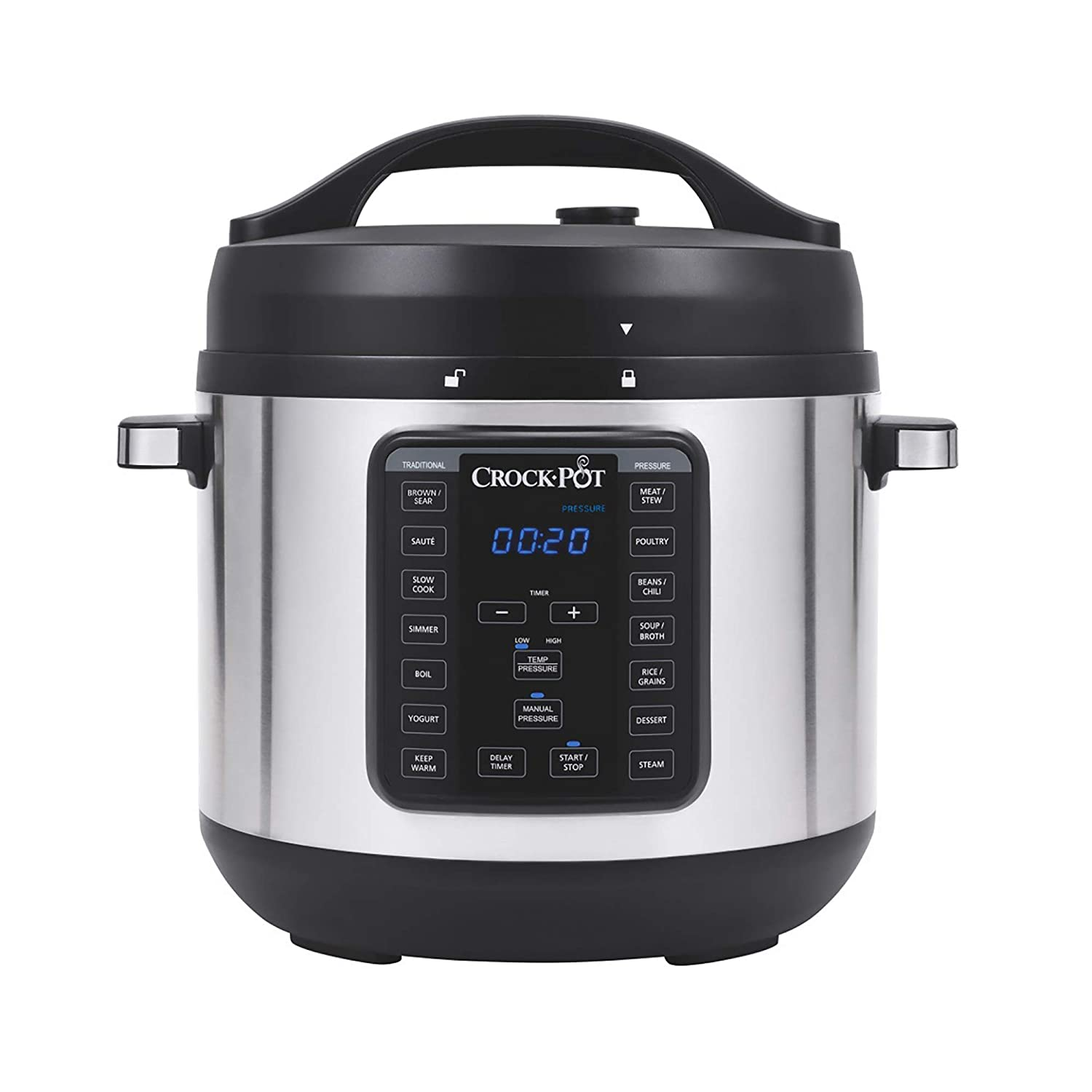 Crock-pot SCCPPC800-V1 8-Quart Multi-Use XL Express Crock Programmable Slow Cooker with Manual Pressure, Boil & Simmer, Stainless Steel