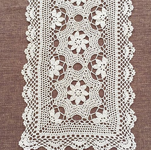 "Ustide Crochet Floral Table Runner Cotton Lace Table Doilies Beige Dresser Decoration Washable Mats, 15""x39"" - Material: cotton washable,handmade so pretty, Size:(15.74*39.37inches)40*100cm Suitable for dinningroom,living room,study room, let you feel High-end and warm.delicate lace decorative. - table-runners, kitchen-dining-room-table-linens, kitchen-dining-room - 71nUtrk6pnL -"