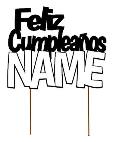 All About Details Personalized Foreign Language HAPPY BIRTHDAY (NAME) Cake Topper (Hispanic (FELIZ CUMPLEAŃOS) - D2)