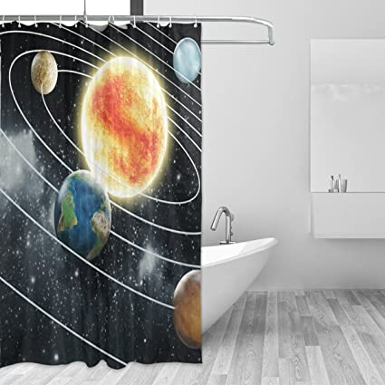LORVIES Educational Solar System Shower Curtain Polyester Fabric Water Repellent Mildew Resistant For Bathroom