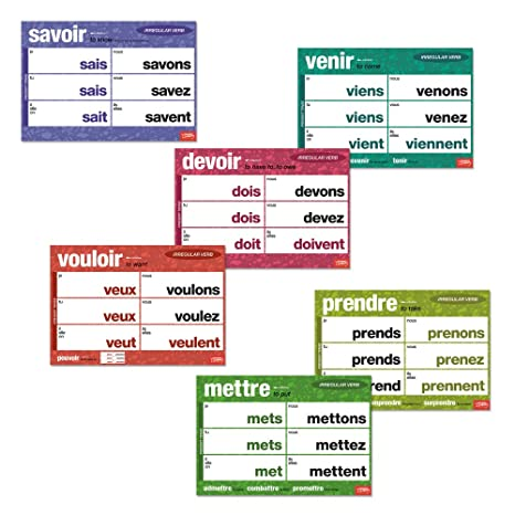 Amazon Com Important Irregular French Verbs Chart Set Office Products