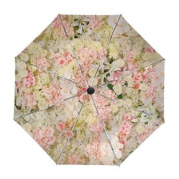 ALAZA Flores Hermosas Floral Viajes Paraguas de Apertura automática Cerca de Protección UV a Prueba de