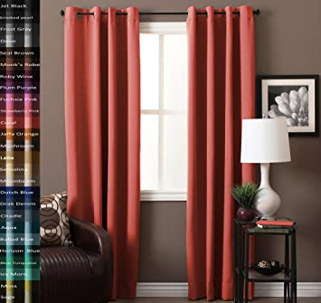 Amazon.com: TURQUOIZE Solid Blackout Drapes, Coral, Themal ...