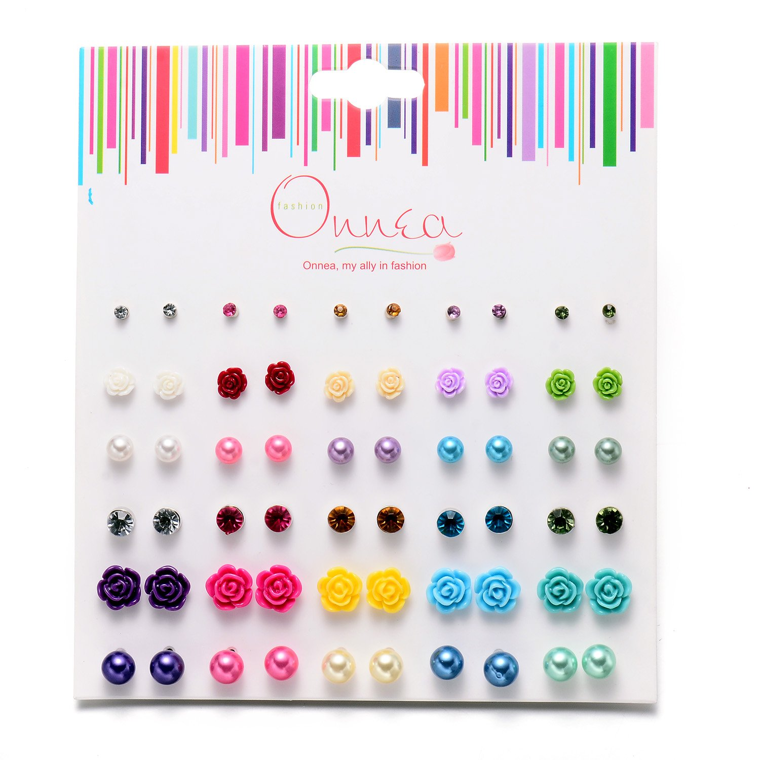 Onnea Multi Pairs Disc Ball Earrings Set for Girls, Hypoallergenic (30Pairs (Rose)) by Onnea (Image #1)