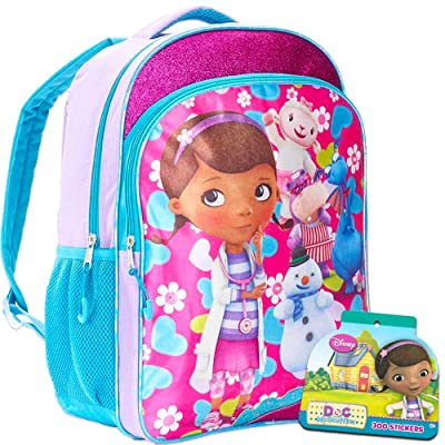 Disney Doc McStuffins Backpack for Girls Kids, 16 Inch Large, with Bonus Stickers (School Supplies) | Kids' Backpacks