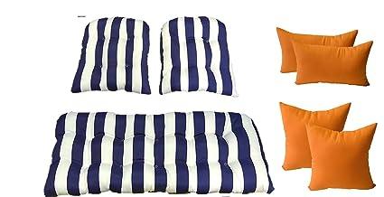 Amazon.com: Mimbre cojines y almohadas 7 PC Set – Azul ...