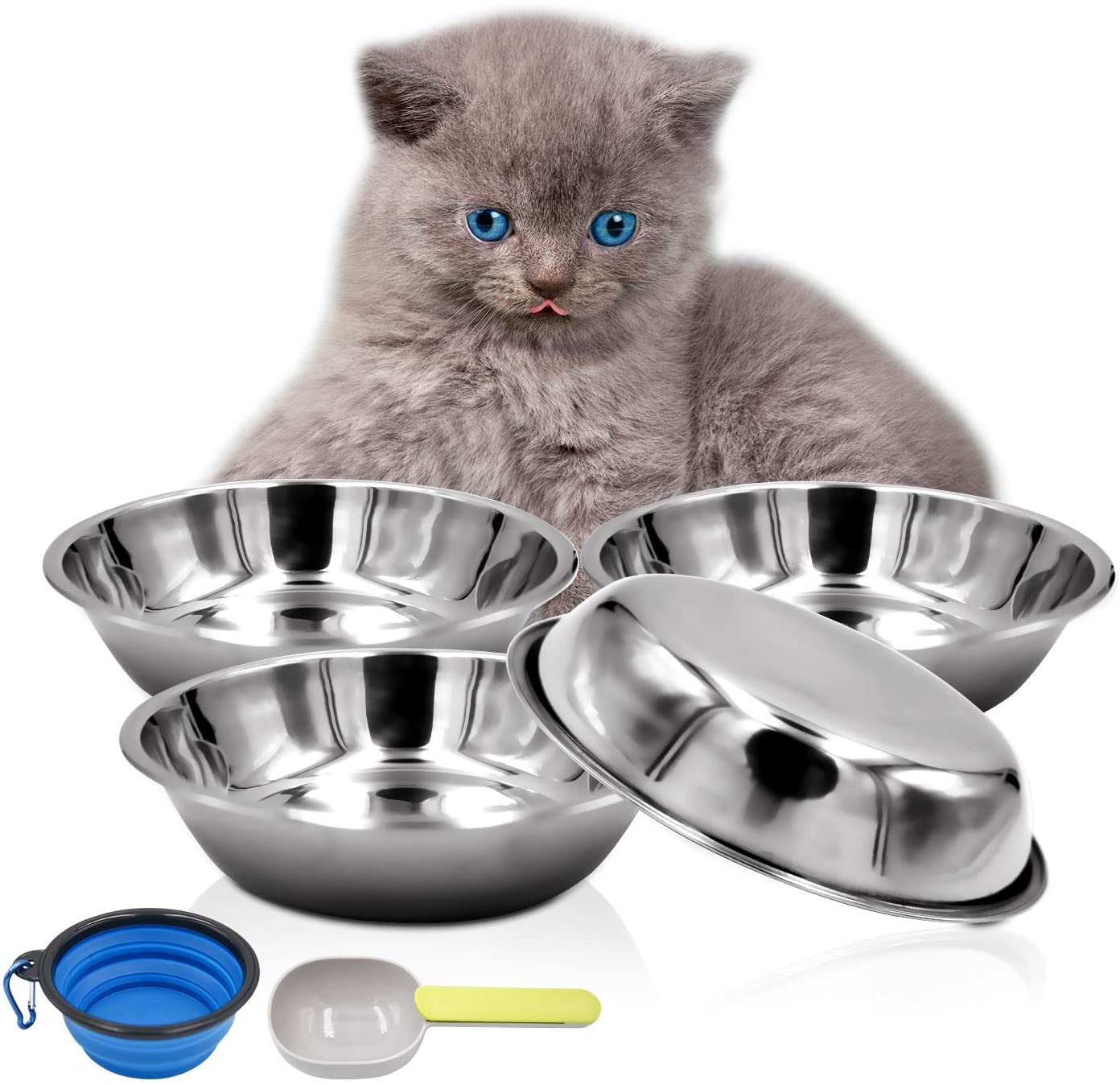 Bac-kitchen 4 Pcs Stainless Steel Dog and Cat Food Dish/Bowls, Shallow Cat Dish, Neater Feeder Extra Replacement Bowl -Metal Food and Water Dish, for Small Dogs and Cats,12oz
