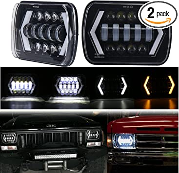"7x6/"" 5x7/"" 200W LED Headlight DRL Hi-Lo Sealed Beam for Jeep Cherokee XJ YJ Chevy"
