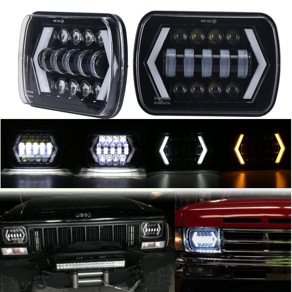 "7x6"" Jeep Cherokee XJ Headlight, MOVOTOR 5x7 inch Seal Beam Led Headlight with White DRL/Amber Turn Signal Arrow Halo for Jeep MJ YJ Chevy S10"