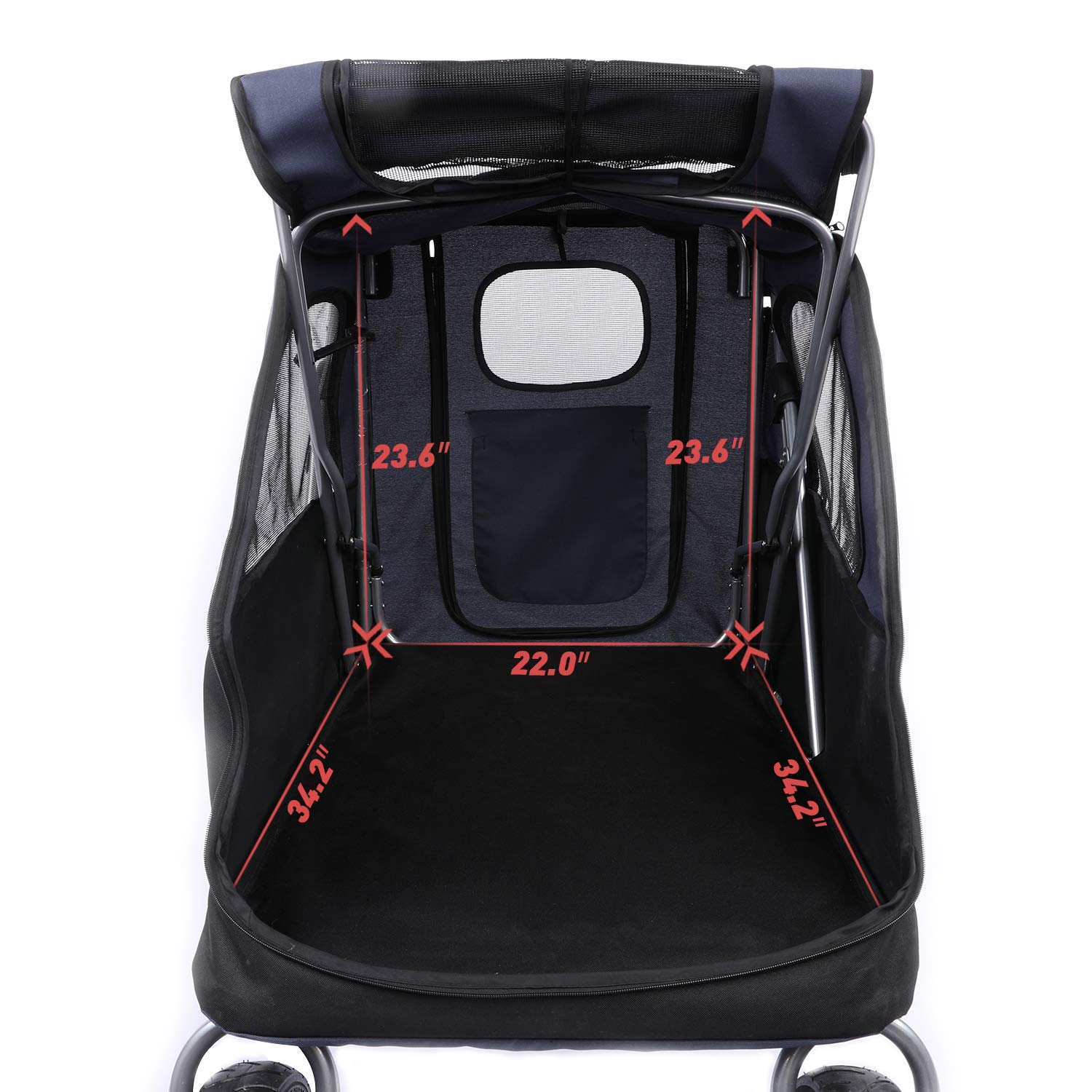 Cats and Other Pets Spacious Stroller for Big//Medium//Small Dogs Foldable Traveling Carrier with Adjustable Handle for Dogs LAZY BUDDY Dog Stroller with 4 Rubber Wheels