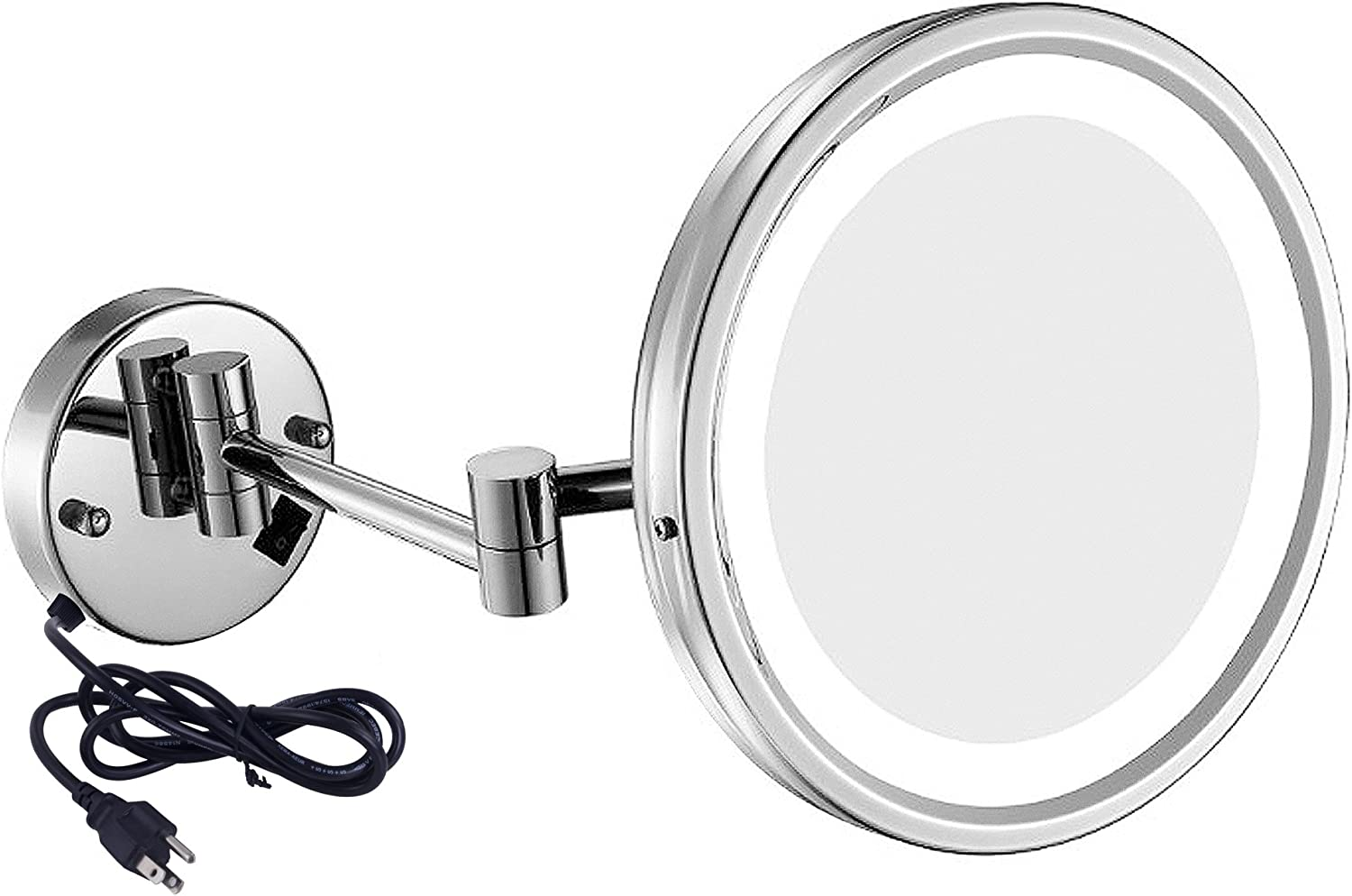 GURUN LED Lighted Wall Mount Mirror 8.5-Inch with 7X Magnification, Chrome Finish with Plug M1807D(8.5in,7X)