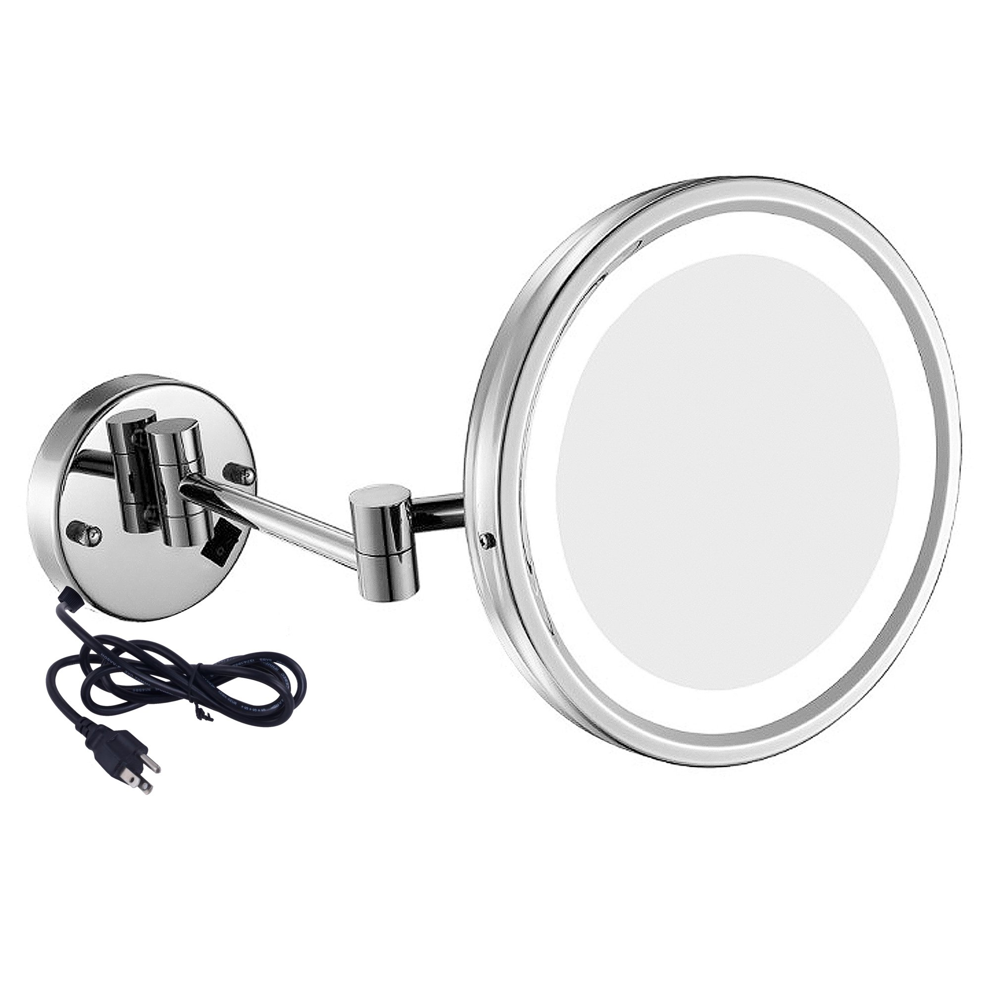 GuRun 10-Inch Adjustable LED Lighted Wall Mount Makeup Mirror with 10x Magnification,Chrome Finish,Plug M1807D(10in,10x)