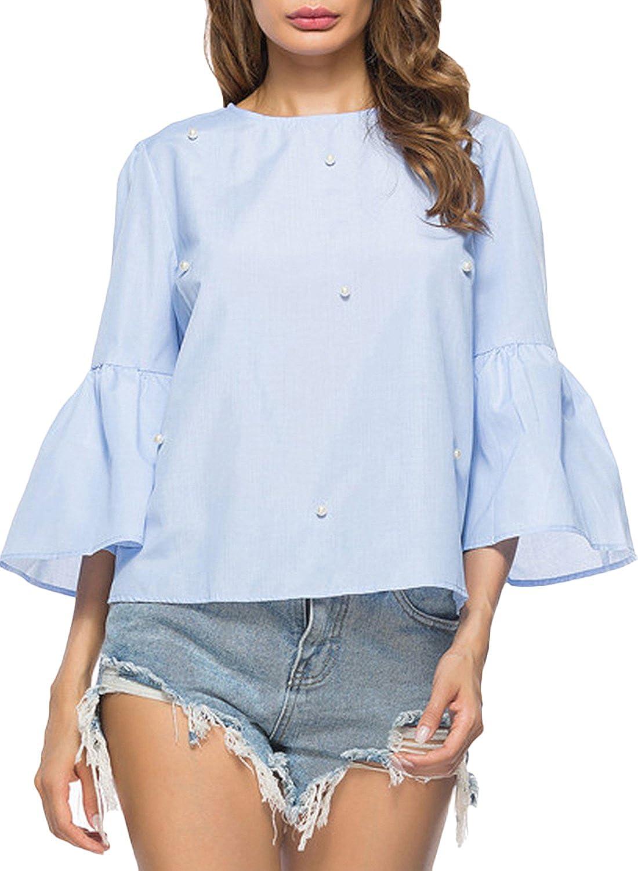 Azbro Mujer Blusa Pullover con Perlas con Mangas de ...
