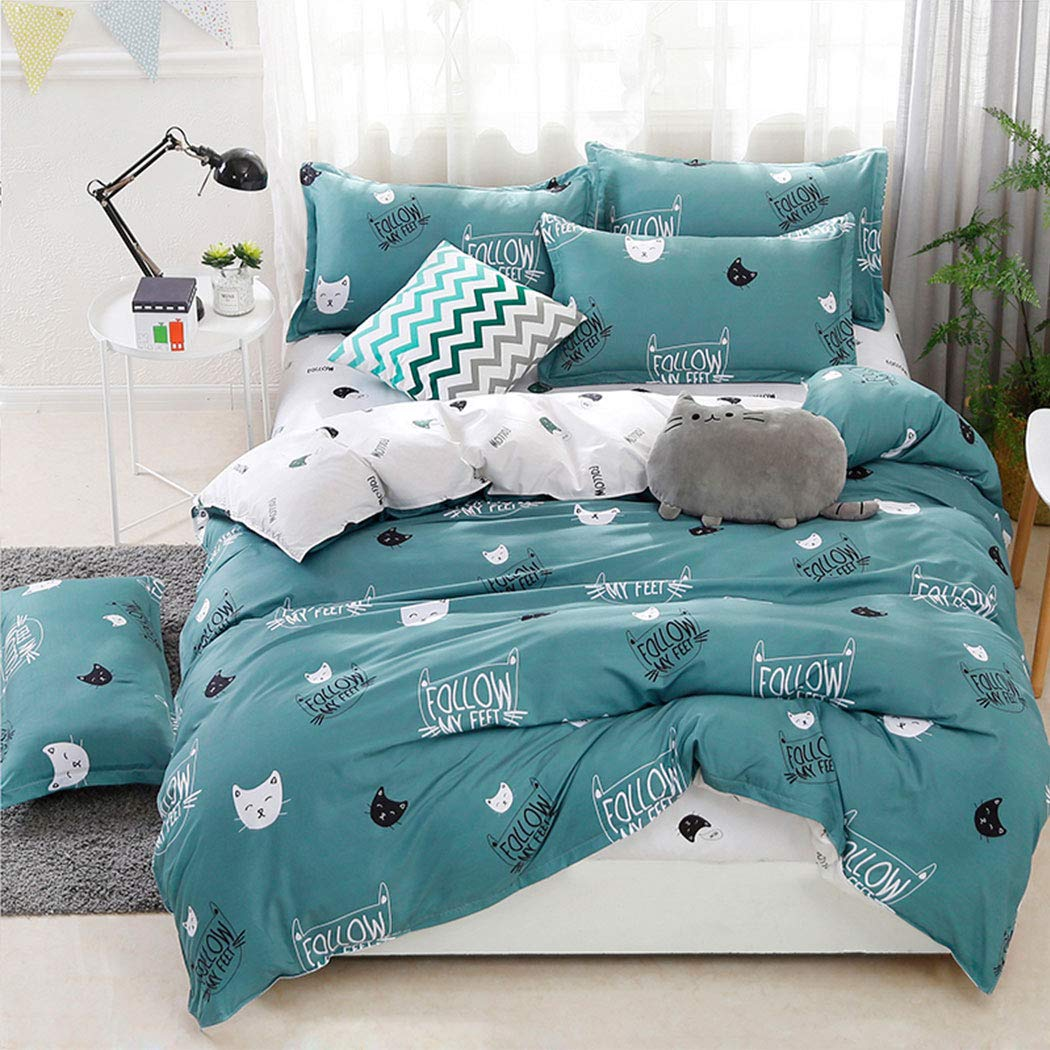 Girlish Follow My Feet Kitty Pattern Comforter Bedding Set, Print 4 Piece Home Decoration Soft Duvet Cover Set, Include 1 Flat Sheet 1 Duvet Cover and 2 Pillow Cases