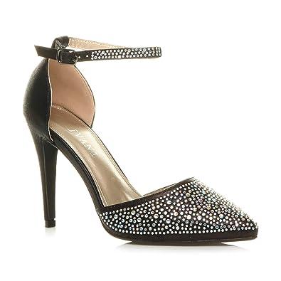 Sandalen Schuhe Größe Damen Hoher Knöchelriemen Pumps Absatz Spitze Strass xthQrsdC