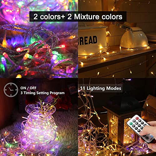 Ollny LED String Lights 200 LED 66FT Color Changing led Christmas light Connectable fairy lights Plug in string lights with Remote Timer 11Function String lights for Bedroom Outdoor Indoor Party Decor