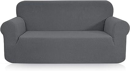 topown jacquard housse de canape extensible 2 places avec accoudoirs gris ciel revetement de canape impermeable housse fauteuil extensible housse