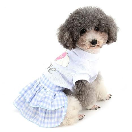 Zunea Vestido de Verano para Perro, Falda para Cachorro con Forma de corazón, alas