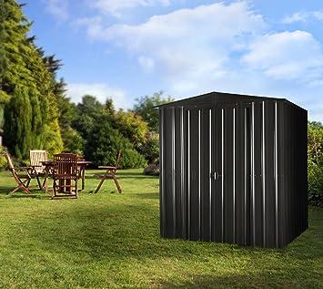 GLOBEL Industries metal jardín cobertizo 6 x 5 Antracita con base de acero//171 x 144 x 193 cm (Alto)//2, 4 m²//cobertizo metal tejado: Amazon.es: Jardín