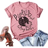 HDLTE Thanksgiving Tshirt for Women Funny Thankful Turkey Graphic Shirt Casual Short Sleeve Thanks Blouse Tops