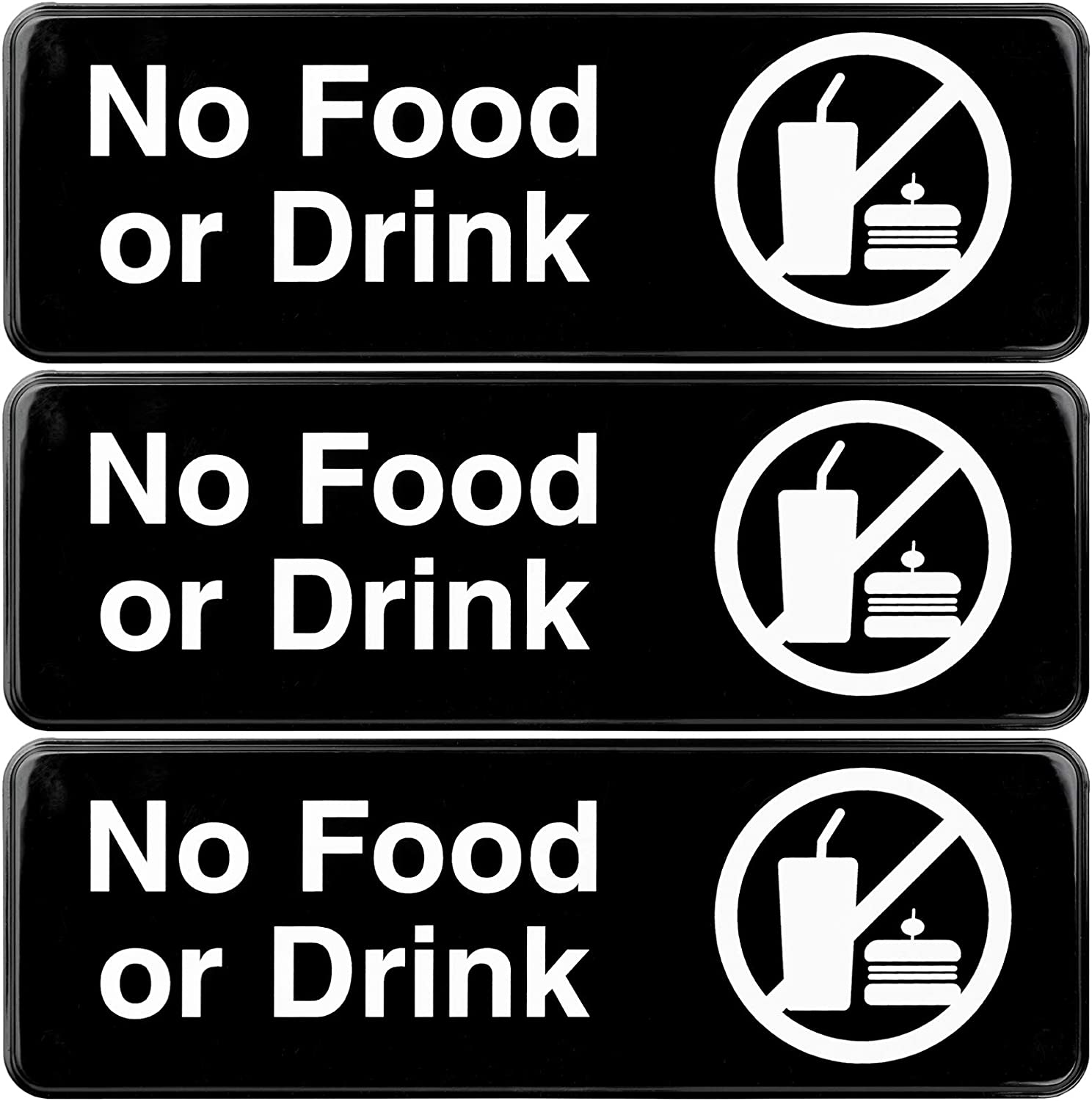 No Food or Drink Sign: Easy to Mount Informative Plastic Sign with Symbols 9x3, Pack of 3 (Black)