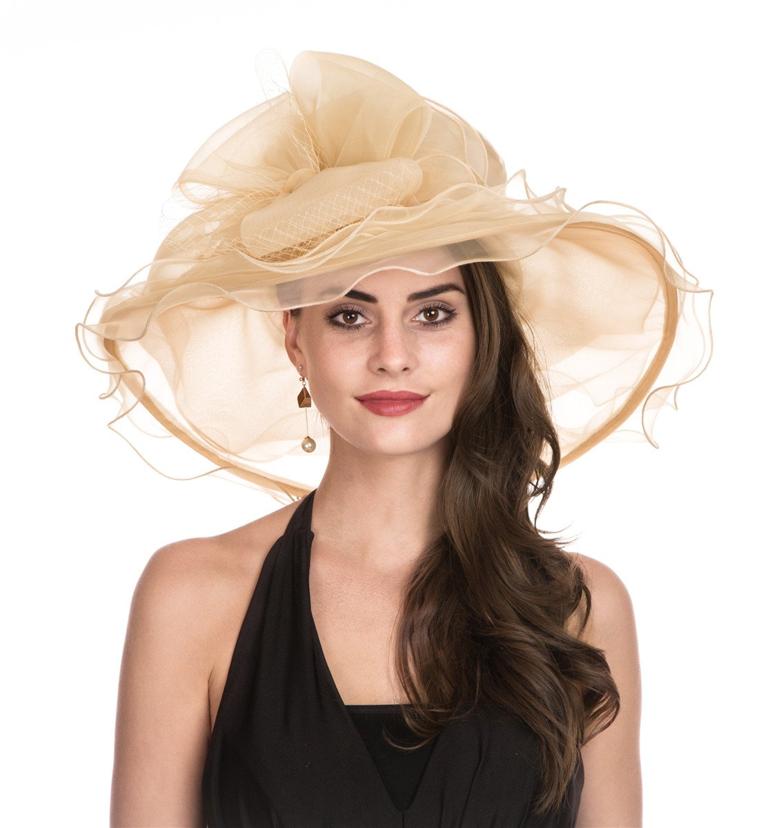 Lucky Leaf Women Kentucky Derby Church Cap Wide Brim Summer Sun Hat for Party Wedding (New Champagne)