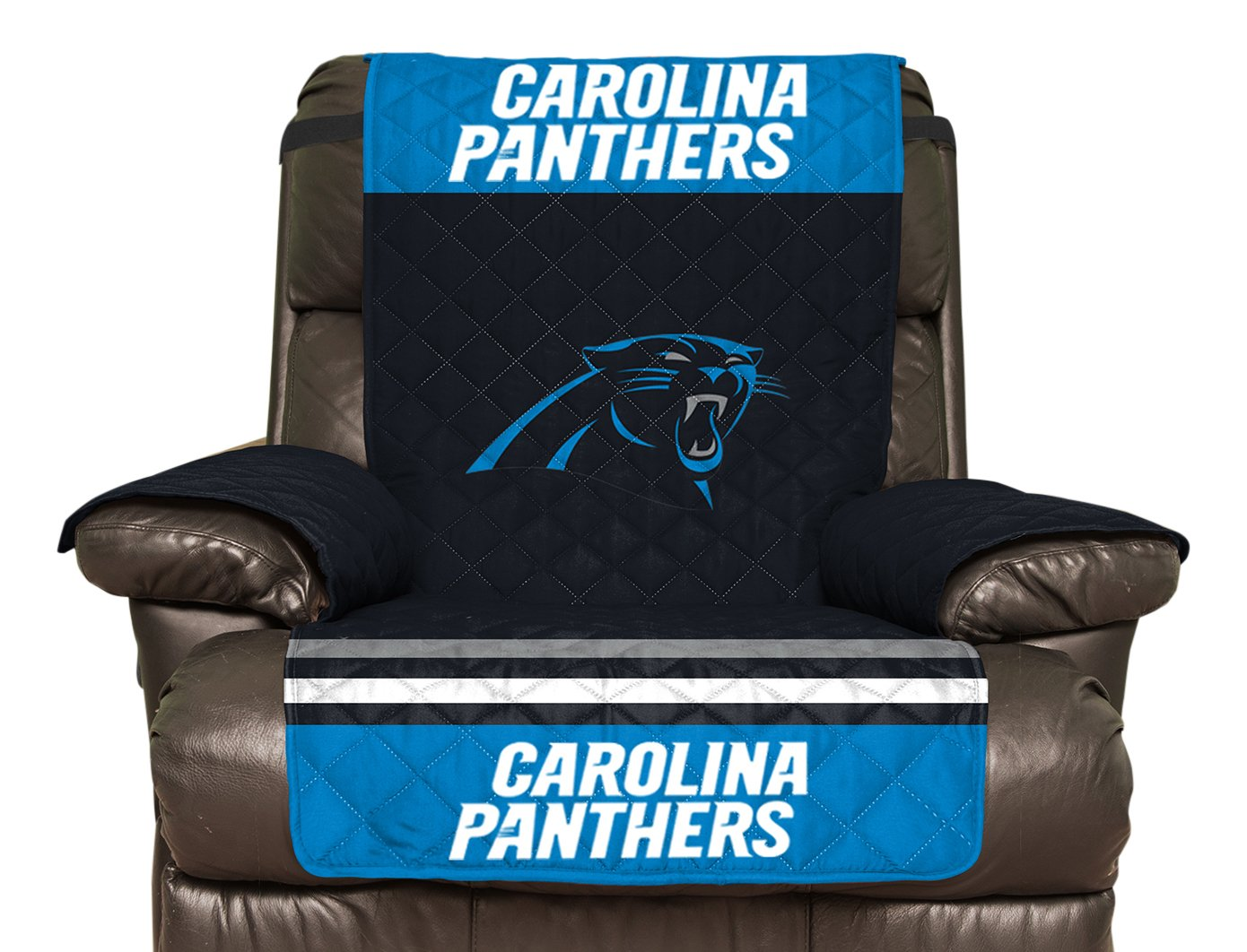 Pegasus Sports NFL Carolina Panthers Recliner Reversible Furniture Protector with Elastic Straps, 80-inches by 65-inches Pegasus - Sports NFLPANTHERS-4R