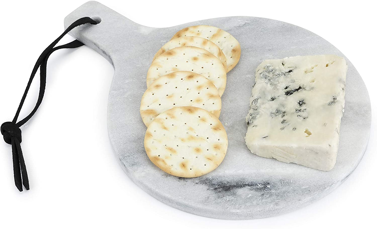 True Round Marble Cheese Plate Serveware Hanging Board, Serving Tray for Appetizers and Charcuterie, 8 Inch Diameter, Set of 1, Grey