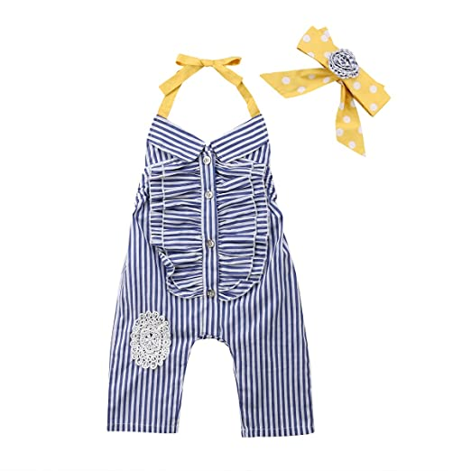 601212578d8f Fashion Kids Baby Girls Striped Romper Jumpsuit Hammock Sleeveless Playsuit  Clothes Outfits (80 1