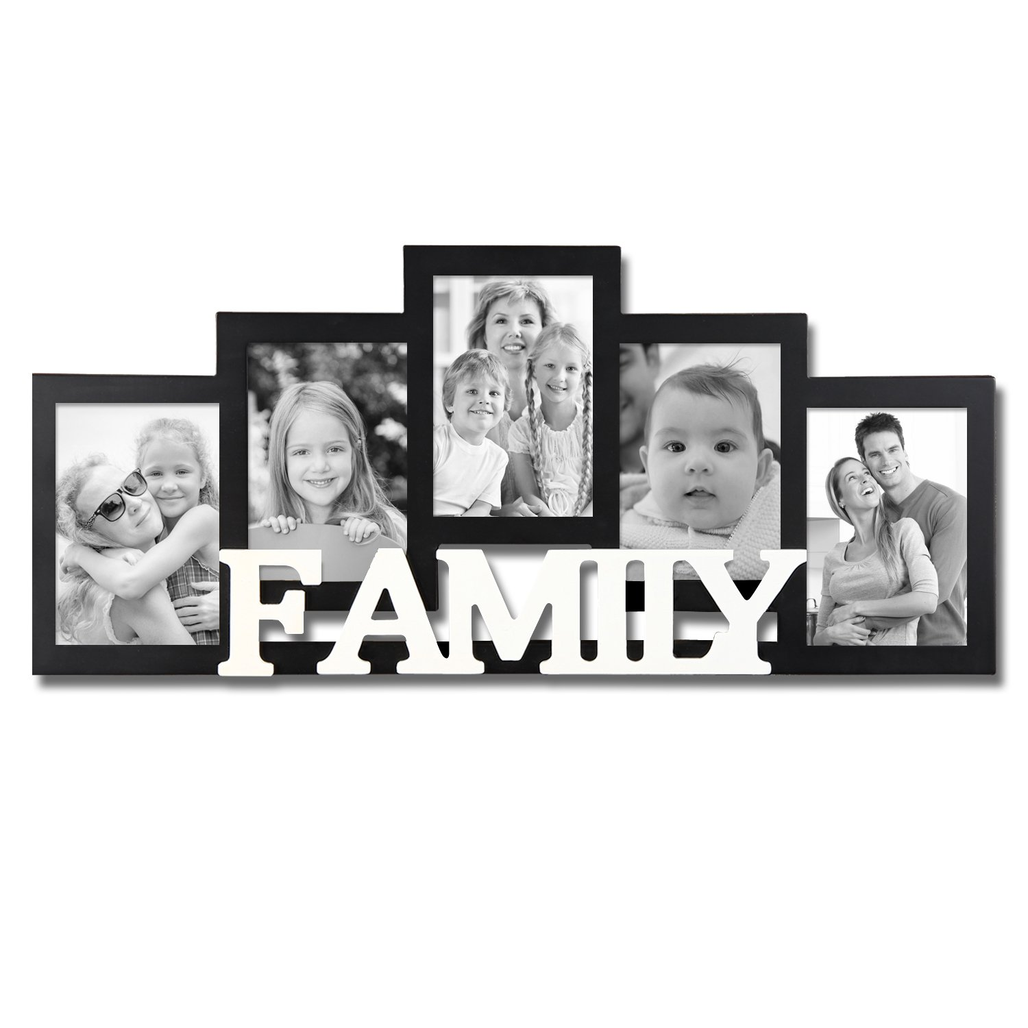 Black and White Wood ''Family'' Wall Hanging Picture Photo Frame