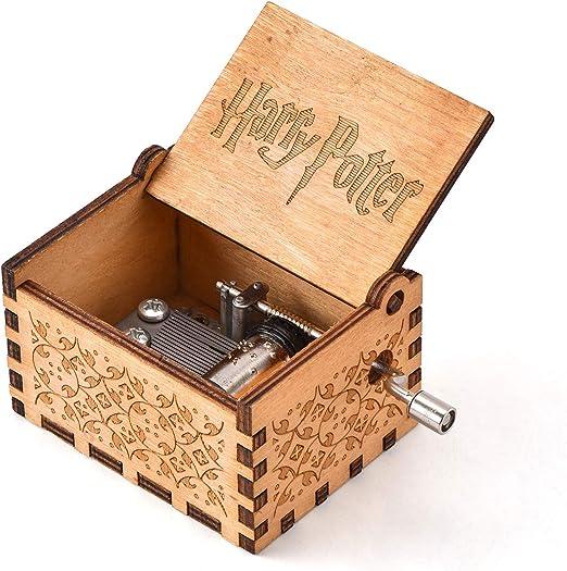 YEUGUI Caja de música de Madera con manivela de manivela Tallada antiguamente, Caja de música Creativa para Boda, San Valentín, Navidad, cumpleaños: Amazon.es: Hogar
