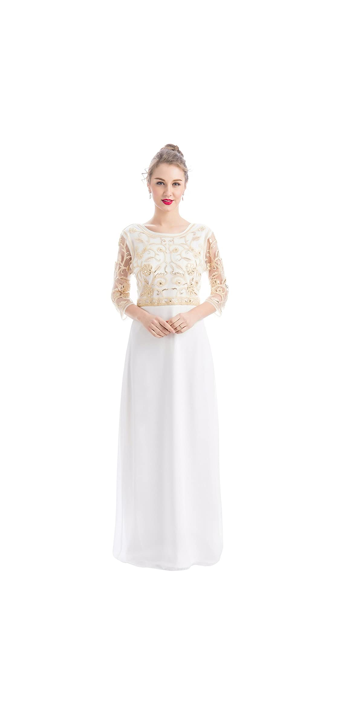 Women Chiffon Beaded Sequin / Sleeve Long Gowns Prom