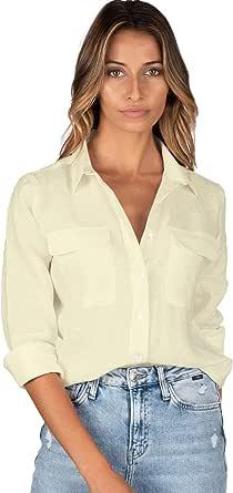 CAMIXA Camisa de Mujer Puro Lino Blusa de Manga Sisa y Bolsillos Top Sin Mangas