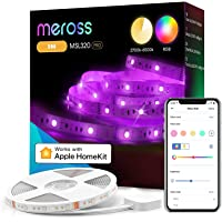 Taśma Wi-Fi RGBW współpracuje z Apple HomeKit, meross Smart LED 5 m, zmiana koloru i sterowanie głosowe, z Alexa, Google…